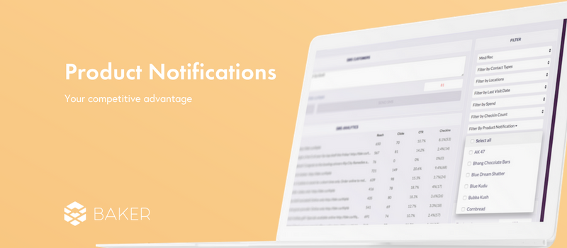 Baker product notifications for dispensaries