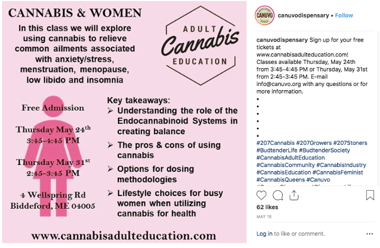Cannabis education for women Instagram example