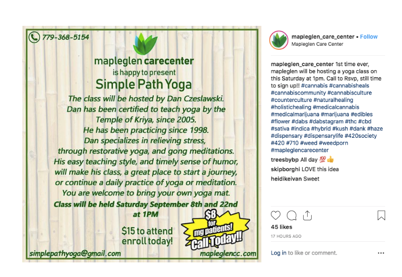 Dispensary yoga event example from Instagram