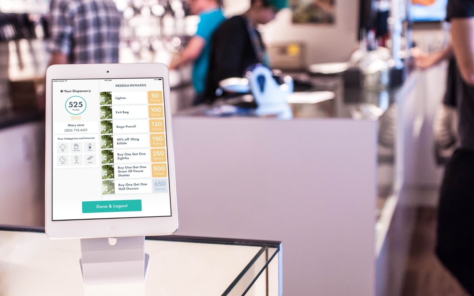 dispensary loyalty checkin and self-serve kiosks from Baker